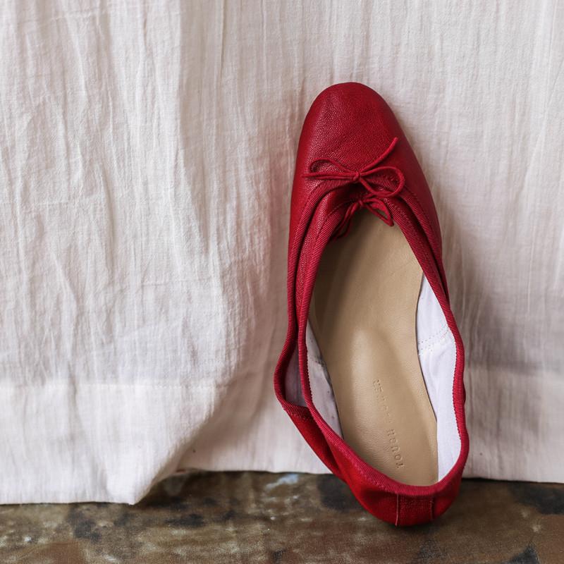 【花边女】意大利手工芭蕾舞鞋红色单鞋 浅口平底圆头女鞋