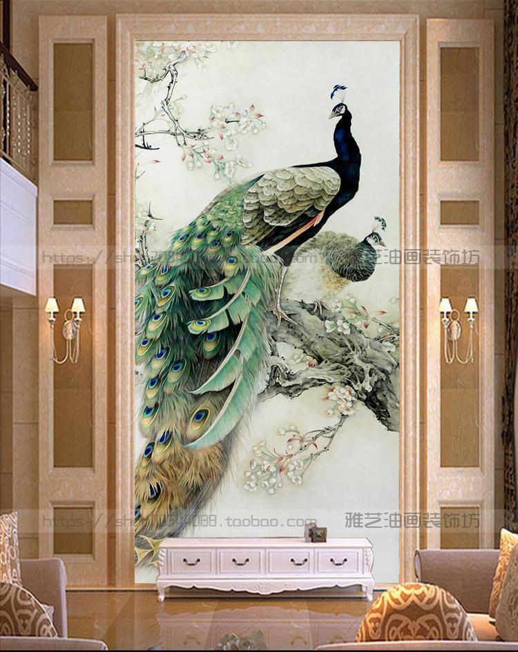 画欧式立体写实走廊过道壁画竖版孔雀约挂画玄关装饰画