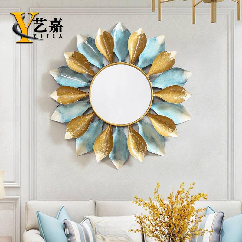 美式轻奢太阳镜壁挂欧式餐厅玄关墙镜子简约客厅铁艺墙壁装饰挂件