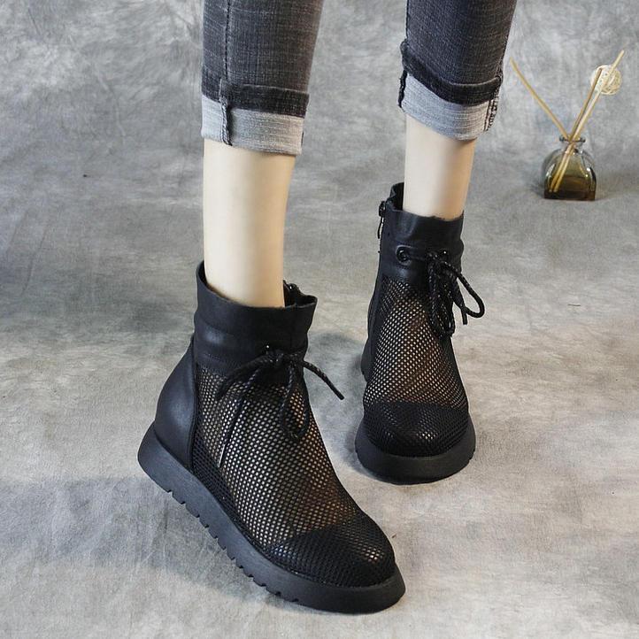 女士夏季镂空凉鞋网面短靴女高腰平底带孔网眼网纱凉靴子