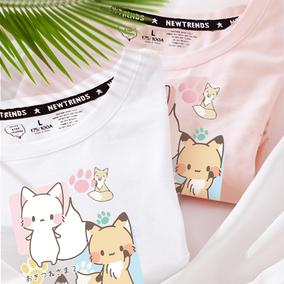 日系减龄粉色可爱印花女短袖t恤