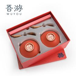 红色结婚碗筷套装陶瓷陪嫁对碗婚礼夫妻碗一对喜碗餐具礼盒定制