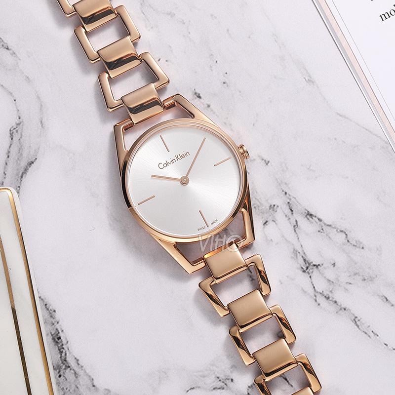 海外直邮 新款CK手表镂空简约钢带石英女表K3G23626瑞士专柜正品