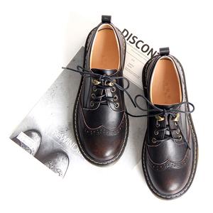 自然卷真皮ins学院风系带小皮鞋