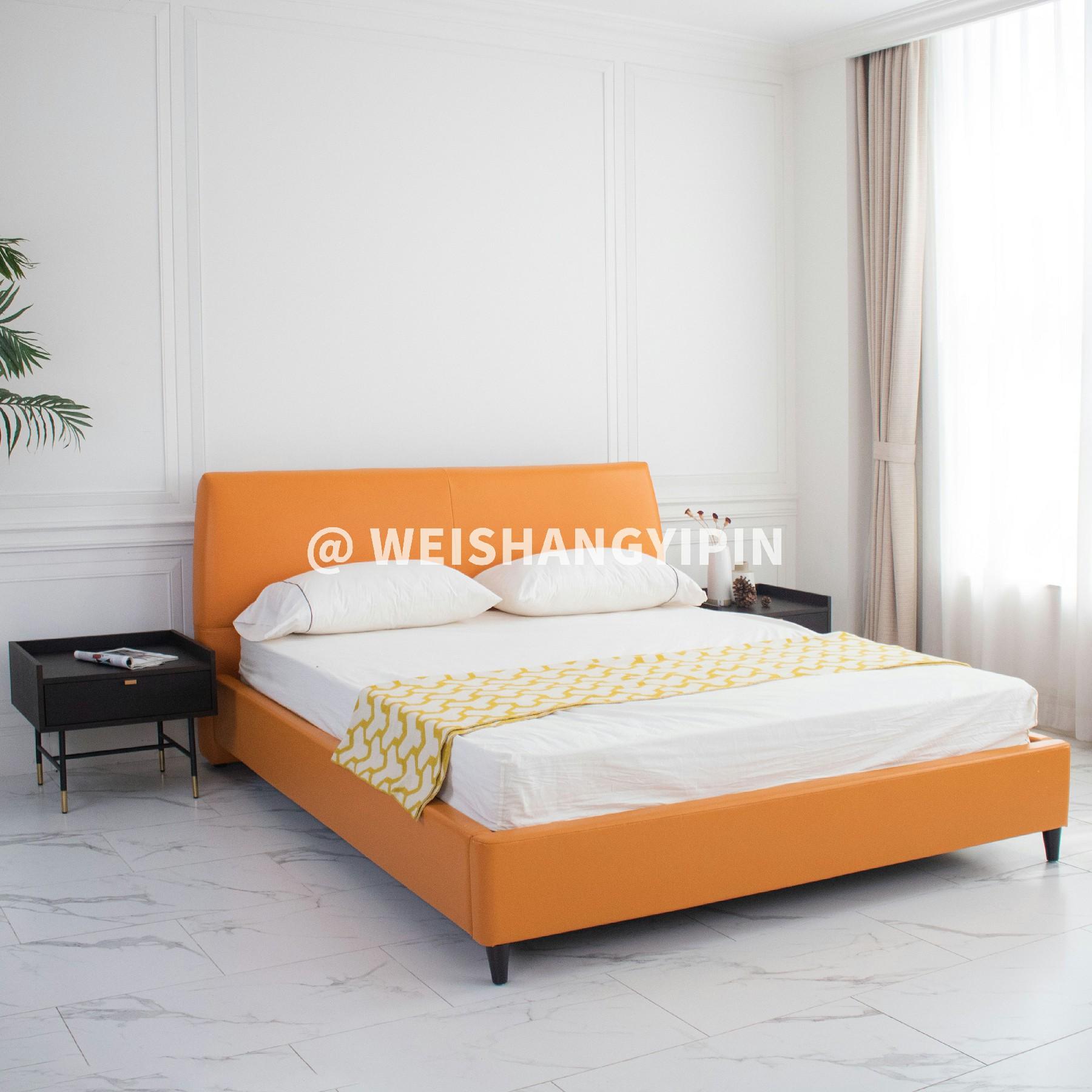 现代简约卧室1.5米1.8米双人床北欧轻奢储物软床橘色皮革真皮床