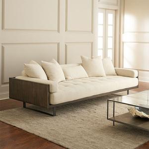 北欧式布艺沙发组合双人沙发黑胡桃实木沙发客厅三人位小户型简约