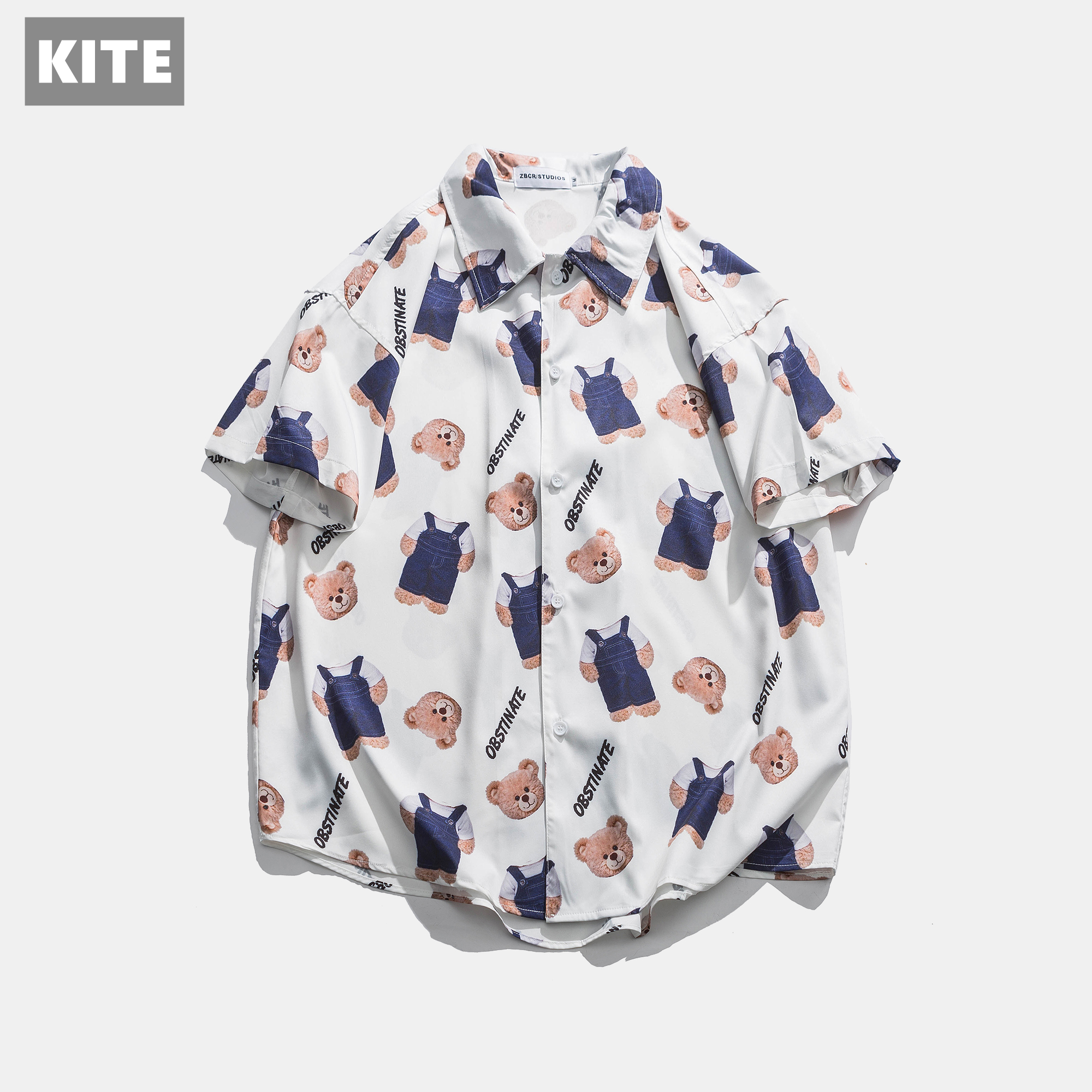 2020夏季新款ins潮流白色小熊花衬衫牛仔带卡通短袖宽松半袖衬
