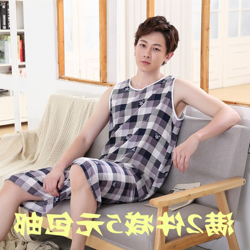 Summer cotton silk pajamas mens pure cotton silk loose large size sleeveless suit mens artificial cotton casual thin household clothes