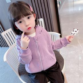 女童针织外套2021春装新款韩版洋气女宝宝4连帽开衫卫衣1-3-5岁潮