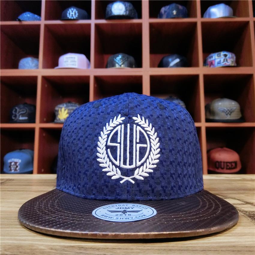 新款个性编织嘻哈帽子男平沿帽街头青年百搭蓝色棒球帽户外遮阳帽
