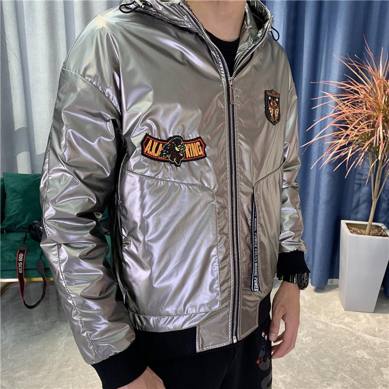 Mens jacket Korean new hooded jacket fashion rib top embroidered logo coat 2020 fashion brand coated bright leather