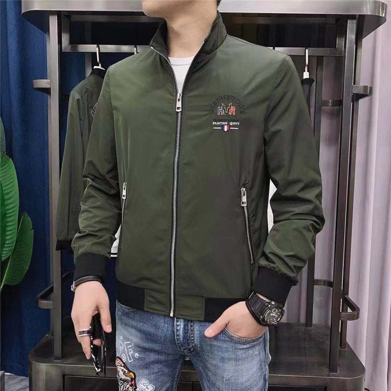 Casual jacket mens Embroidery trend collar jacket spring and autumn Korean slim fit coat sports fashion zipper jacket