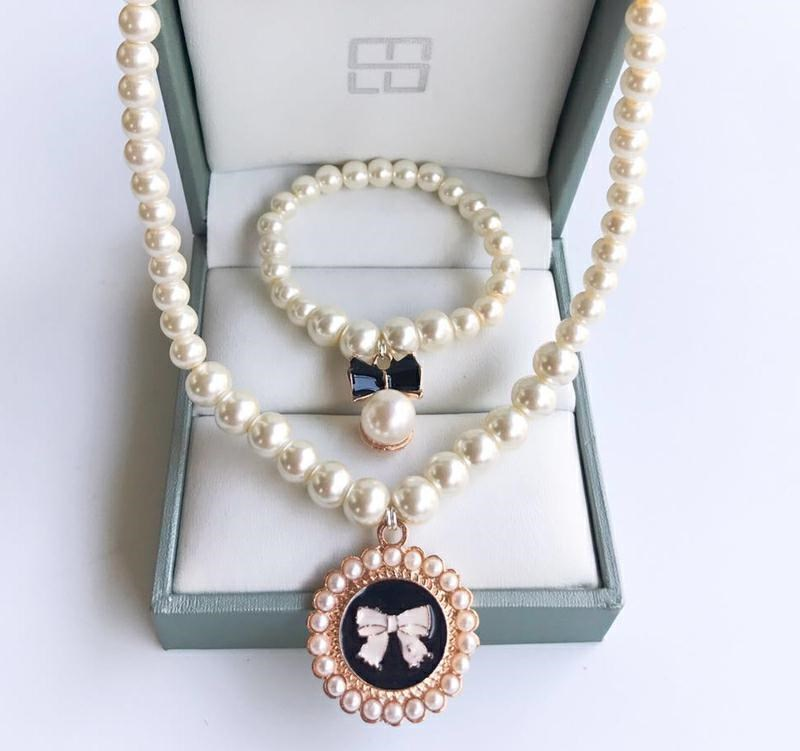 Korean girls and childrens accessories jewelry lovely bow Pearl series beautiful princess Necklace Bracelet L