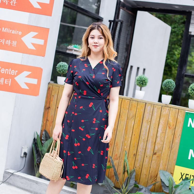 夏季秒杀考拉女王大码女装 中长款连衣裙胖mm2018复古短袖印花