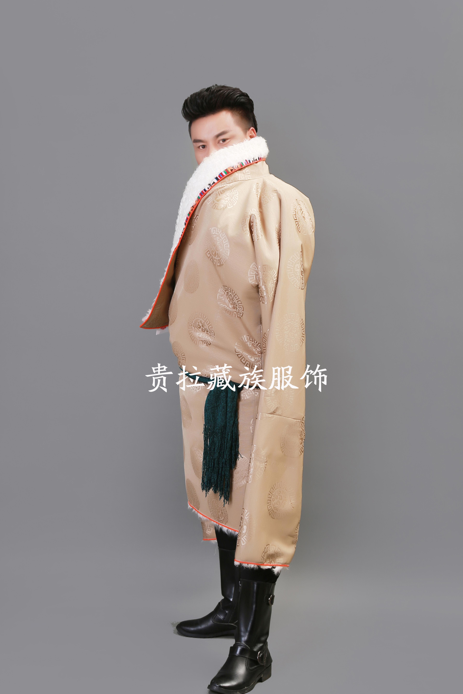 苏拉克夏西藏藏族服装2019新款男士藏袍羊皮领子加绒冬装藏族服饰