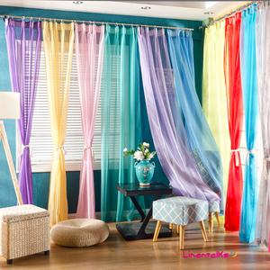 欧式简约高档纯色窗纱布艺纱帘隔断客厅飘窗阳台透光窗帘成品定制