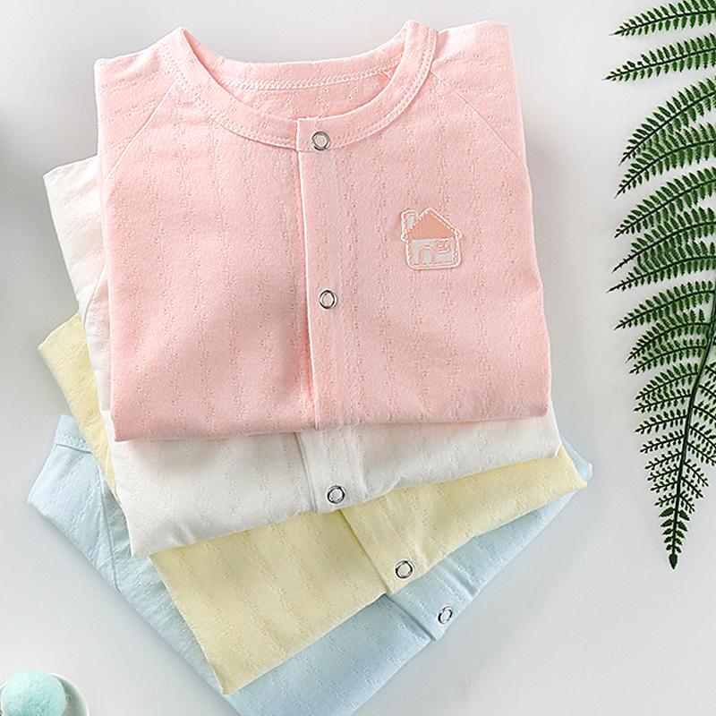嬰兒連體衣服春秋純棉男女寶寶哈衣爬服空調服新生兒睡衣薄款夏季
