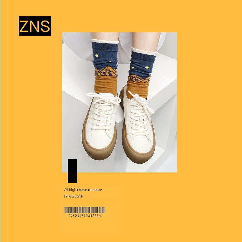 ZNS2020新款日系软妹真皮小白鞋板鞋复古平底鞋百搭休闲鞋女潮