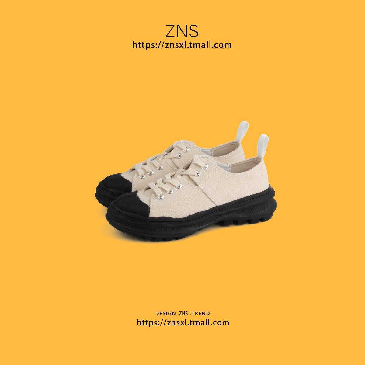 一脚蹬两穿帆布鞋外穿百搭休闲睁高厚底帆布鞋女懒人鞋女ZNS