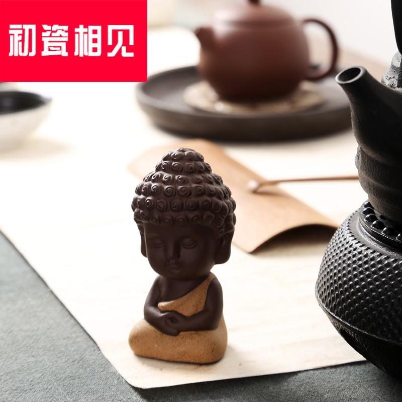 初瓷相见彩砂茶宠茶具配件精美手工摆件可爱佛茶宠小如-化佛茶(初瓷相见旗舰店仅售174.8元)