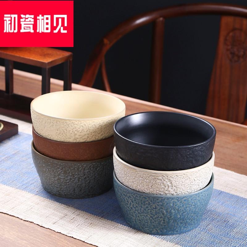 初瓷相见大号陶瓷茶洗碗个性粗陶水盂家用茶道功夫茶具零配件水洗,可领取15元天猫优惠券