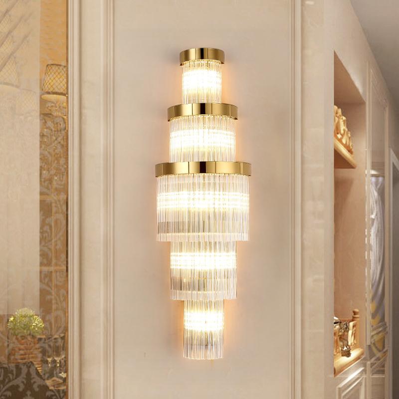 近代的なアイデアの客間テレビの背景の壁の壁の明かりの軽奢な別荘のホテルのロビーの廊下の階段の水晶の照明器具