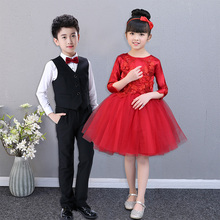 Children's performance clothes primary and secondary school students' dance clothes boys' and girls' chorus performance clothes princess skirt long sleeve winter