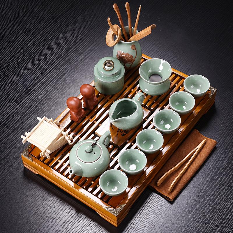 紫砂陶瓷功夫茶具小套装家用整套客厅办公实木茶盘茶台茶壶茶杯图片