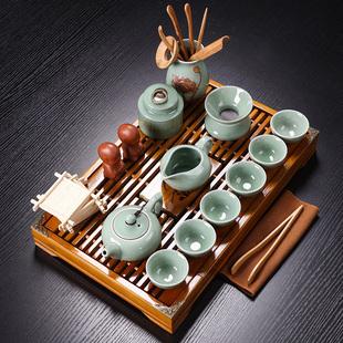 紫砂陶瓷功夫茶具小套装 家用整套客厅办公实木茶盘茶台茶壶茶杯