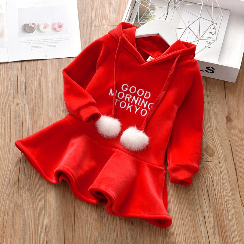 童裙女童连衣裙加绒秋冬款海岛绒衣小女孩红色卫衣裙韩版洋气裙子