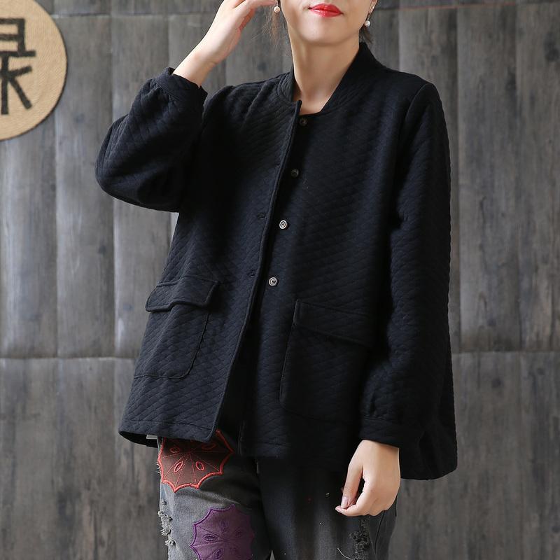 2018秋季新款纯棉菱格立领宽松长袖口袋单排扣短外套女休闲矮个子