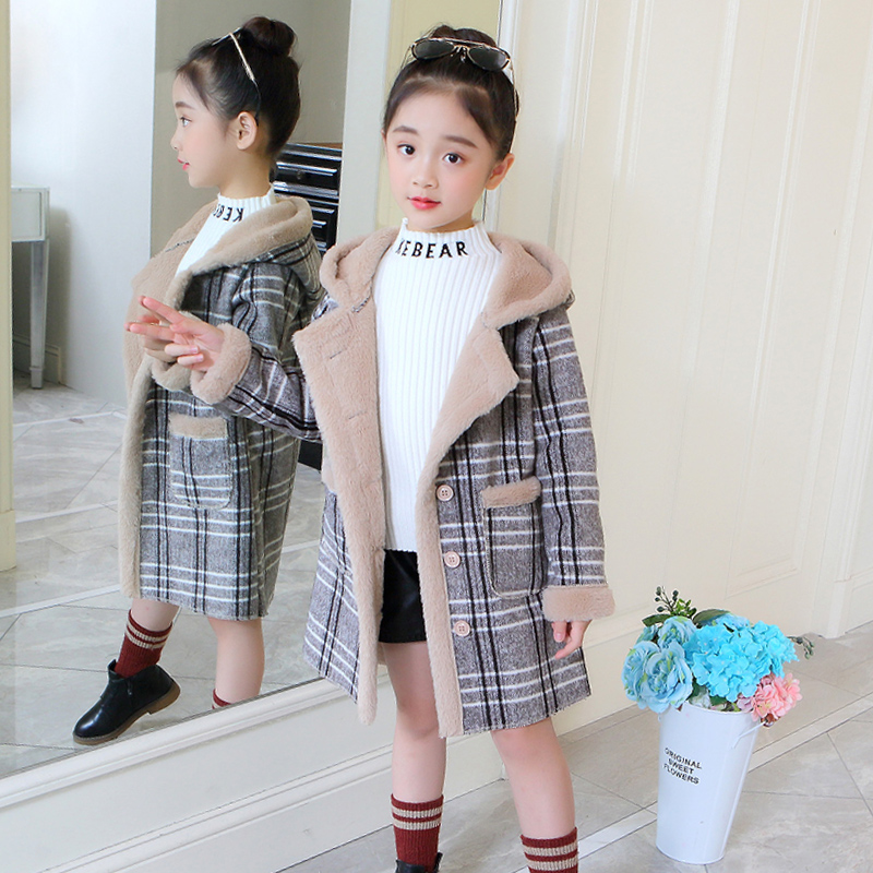 新品女童呢子大衣韩版小女孩格子中长款冬装呢大衣儿童加厚外套潮