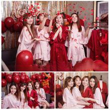 新娘伴娘团定制晨袍结婚婚礼闺蜜刺绣睡衣趴秋春红色睡袍睡裙女夏