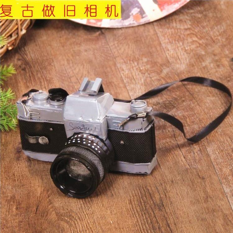 特色馆复古道具相机模型仿真小摆件文艺装饰单反拍照道具假相机玩