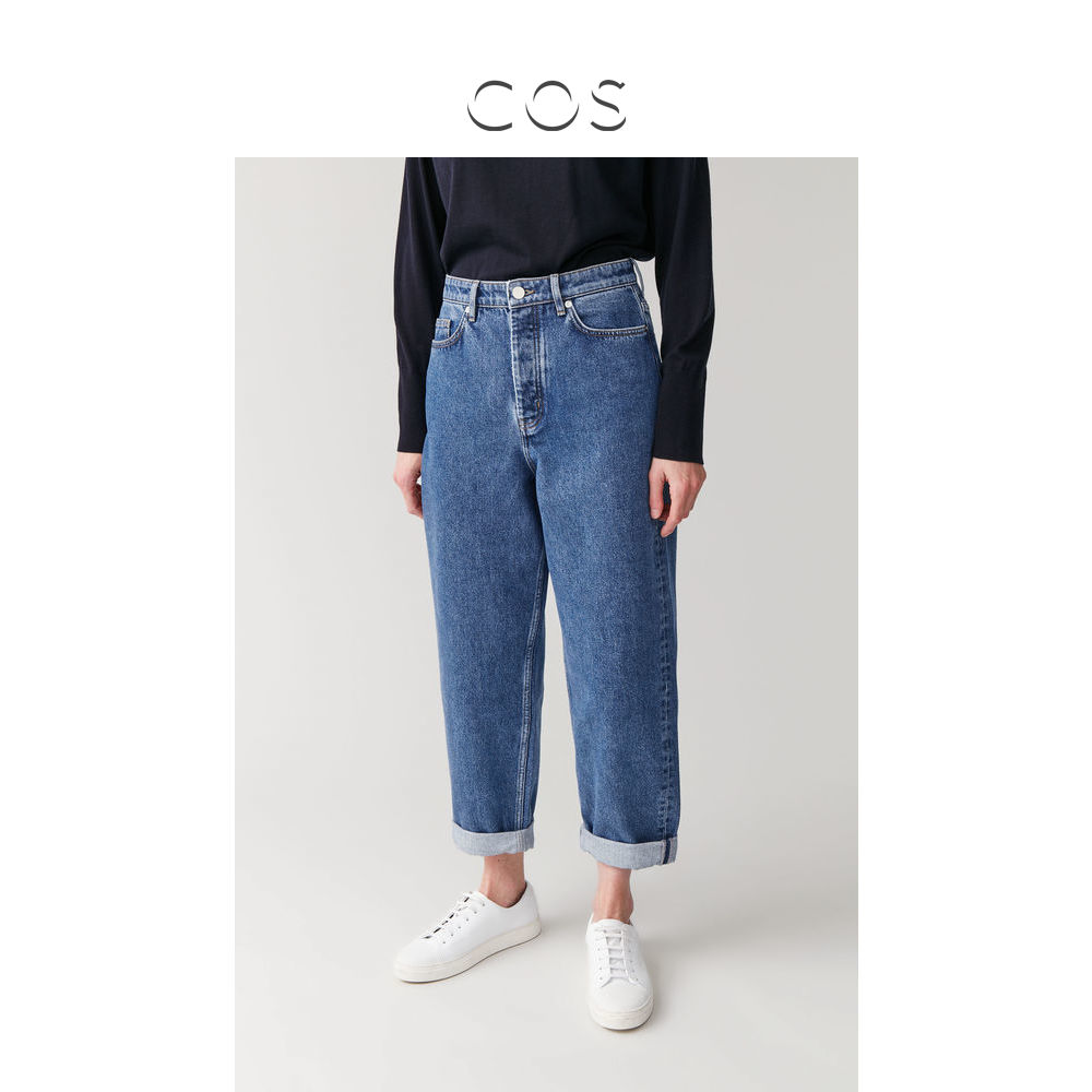 Cos women's high waisted barrel jeans medium blue spring / summer 2020 new product 0882392003