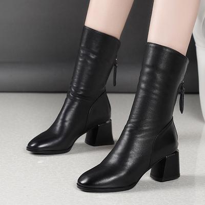 2019秋冬季网红瘦瘦靴高跟短靴女粗跟加绒雪地靴中跟中筒马丁靴女