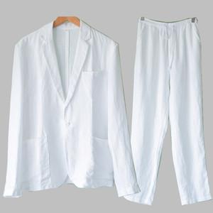 亚麻西服套装男宽松夏季薄款棉麻两件套春秋男装麻料休闲西装一套