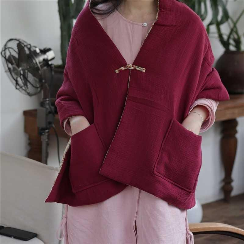 Scarf thickened dual purpose shawl robe Cape covered with retro cotton jacket in autumn and winter to keep warm
