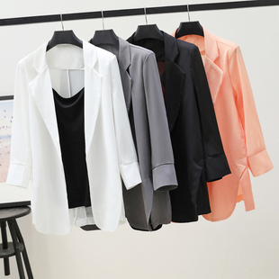 宽松防晒衣中长款 薄 新款 雪纺小西装 韩版 外套女2020春夏季 空调开衫