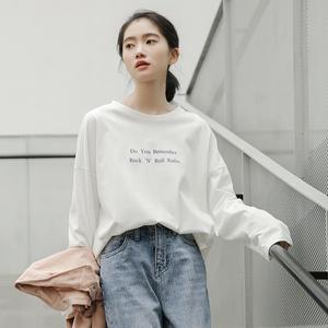 春装新款韩版字母印花开叉休闲长袖T恤上衣打底衫女网红长袖体恤t图片