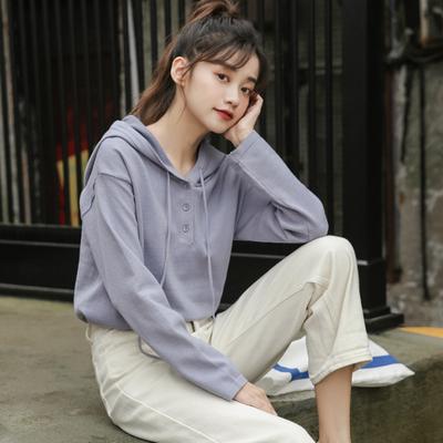 抽绳连帽毛衣女学院风文艺复古单排扣长袖卫衣外套百搭纯色针织衫