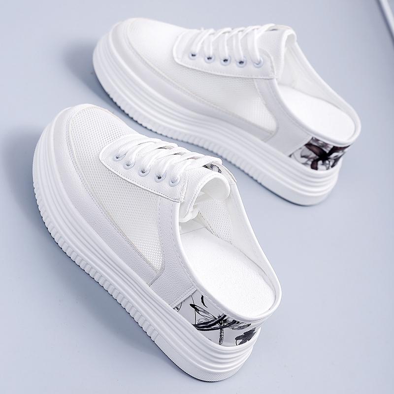 2021夏季新款女鞋镂空透气网面厚底松糕小白鞋女士时尚内增高半拖