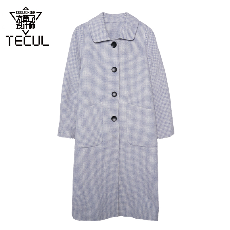 Tecul is too cool. The small Lapel blue lattice long wool coat is one button less. The price is not refunded or changed in seconds