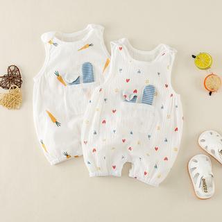 婴童2020夏季薄款连体衣超洋气印花背心可爱宝宝爬爬服幼儿哈衣潮