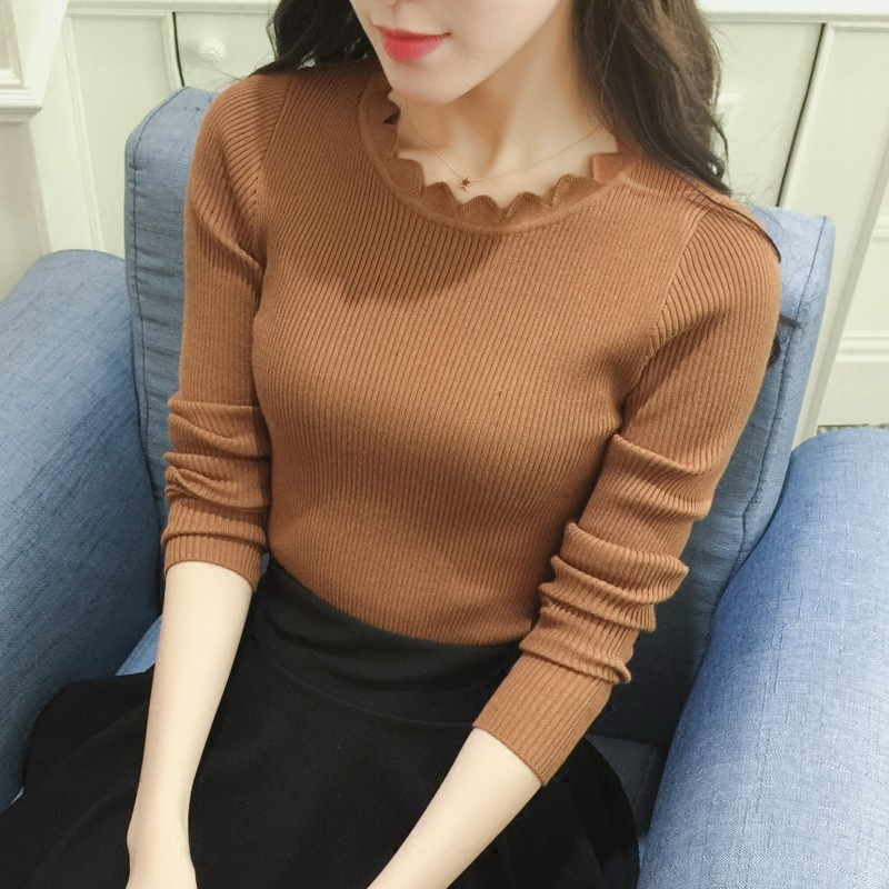 Daily special spring and autumn tight thin round neck short sweater womens solid low collar slim long sleeve bottomed sweater
