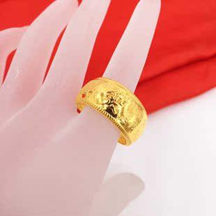 镀24K黄金戒指欧币金饰品男士时尚流行发字新款热销戒指首饰JZ250
