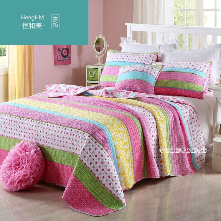 恒和美美式纯棉夹棉绗缝被三件套韩国床盖床单床罩空调被夏凉被