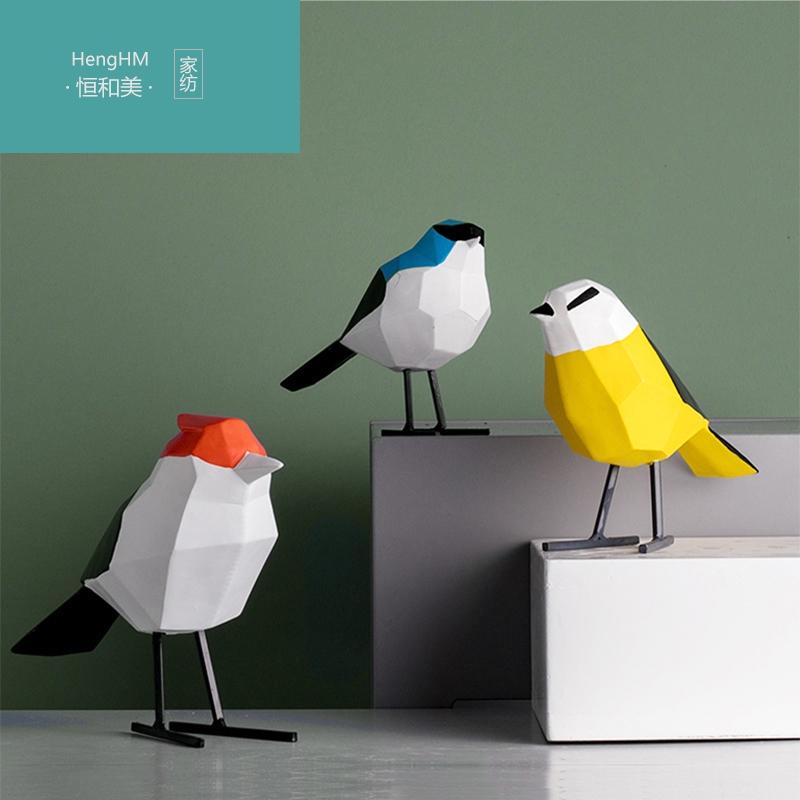 恒和美 原创北欧客厅家居装饰品摆件鸟 创意酒柜树脂摆件自鸣鸟HH