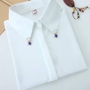 优质2021秋装新款带钻镶钻领子钉珠白衬衣百搭打底翻领长袖衬衫女
