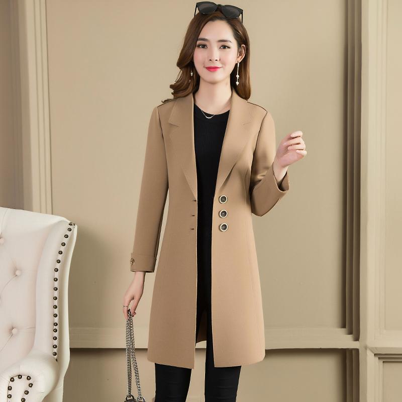 2018秋装女新款风衣外套中长款气质显瘦单排扣修身百搭西装上衣